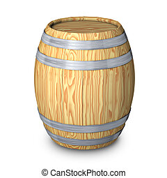 Wooden barrel with steel ring on white background