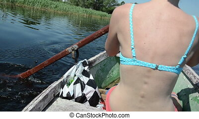 girl bikini on boat