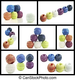 Skeins twine - Collage variations skeins cord on a white...