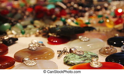 many gems and jewelry in indian market