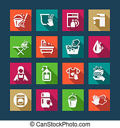 flat cleaning icons - Flat Vector Black Cleaning Icons Set