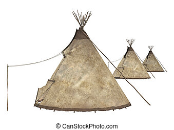 Native American Teepees - 3D digital render of a native...