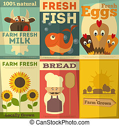 Set of Posters for Organic Farm Food - Organic Fresh Farm...