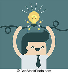 Spark idea - Businessman spark a new idea.