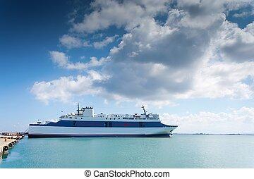 blue ferryboat