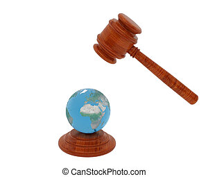 Judge hammer and Planet the Earth - High resolution image...