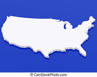 3d map USA - High resolution image white map USA. 3d...