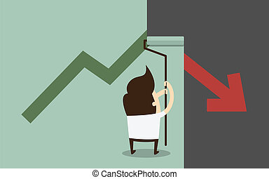 painting growing graph - businessman painting growing graph...