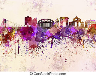 Bucharest skyline in watercolor background