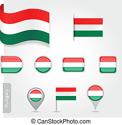 Hungary icon set of flags