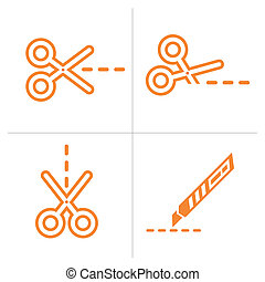 Scissors and cutter, vector