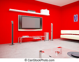 The plasma TV in a red interior