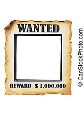 wanted poster paper on white background