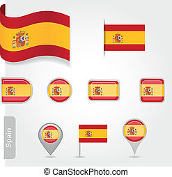 Spanish flag icon - Spanish icon set of flags EPS 10