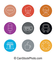 set of flat icon, vector