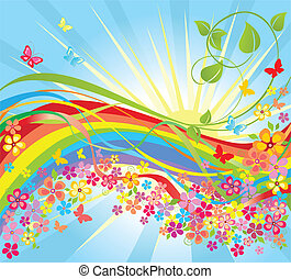 fiori, arcobaleno