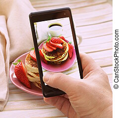 smartphone, 射擊, 食物, 相片