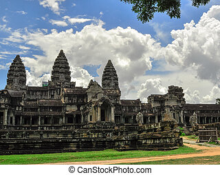 Bayon Temple and Angkor Wat Khmer Kingdom Religion complex in Siem Reap, Cambodia Asia