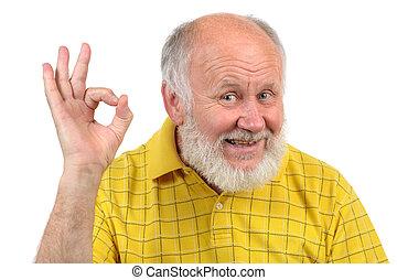 senior bald man's gestures - senior funny bald man in yellow...