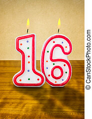 Burning birthday candles number 16