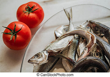 Cleaned Mackerel in Glass Plate - Cleaned mackerel in a...