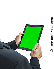 business man holding digital tablet, green screen on white background