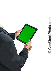 business man holding digital tablet, green screen on white...