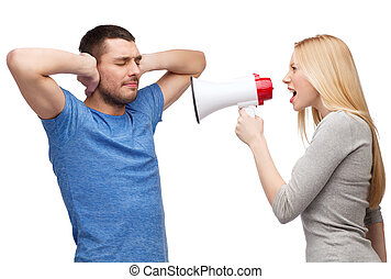 girlfriend screaming though megaphone at boyfriend - couple,...