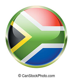 South Africa - Flag of South Africa on a white background...
