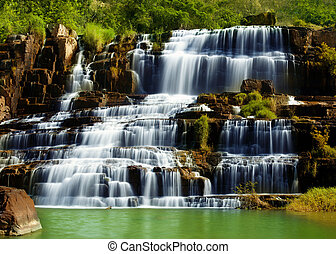 Pongour waterfall in Vietnam - Tropical rainforest landscape...