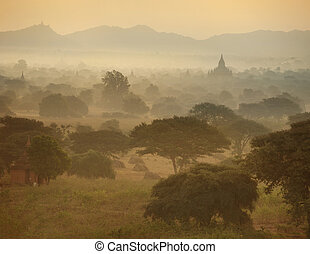 Temples of Bagan in Myanmar - Panorama View of Sunrise over...