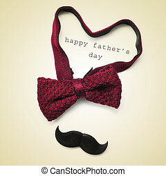 happy fathers day - a bow tie forming a heart, a mustache...