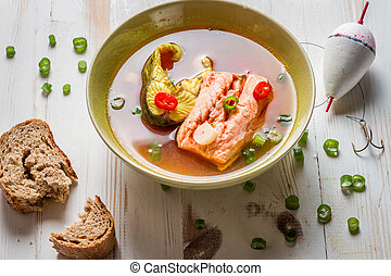 Spicy fish soup based on salmon