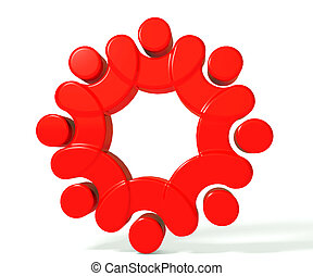 Teamwork union people 3d red image background