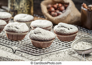 vanilla muffins decorated with icing sugar