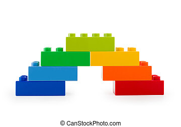 A rainbow color lego stairs on white background