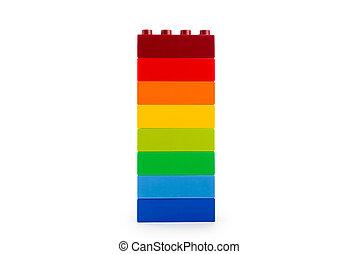 Um, arco íris, cor, Lego, blocos
