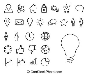 Modern thin line icon set - Vector Modern thin line icon...