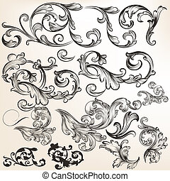 Collection of vector swirls and flourishes for design -...