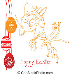 Happy Easter card with rabbits and eggs