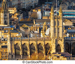 City of Bath Somerset England UK Europe - Bath Abbey shot...