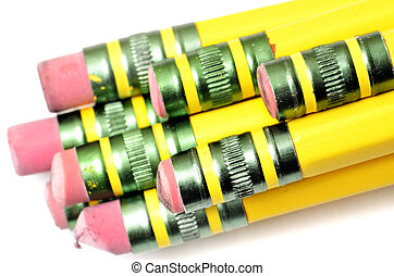 Pencil Erasers - Closeup of several pencil erasers some new...