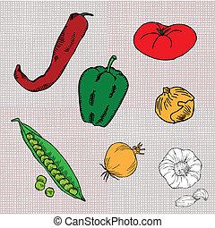 onion, chilly pepper, tomato, pea