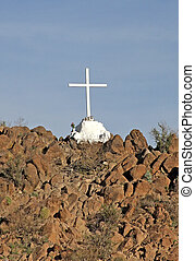 Mission Cross at San Xavier - Cross on the rocky hill...