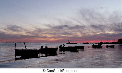Sunset in Ria Formosa Algarve - Sunset in Olho da Restaurao,...