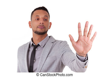African American business man touching a transparent screen - Black people, isolated on white background