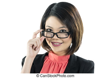 Cute Chinese business woman in glasses - Stylish Chinese...