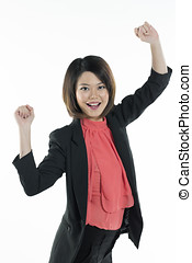 Happy Chinese business woman celebrating. - Portrait of...