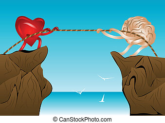 tug of war. heart and brain pull the rope on top of the rock