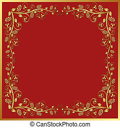 red background with golden floral frame